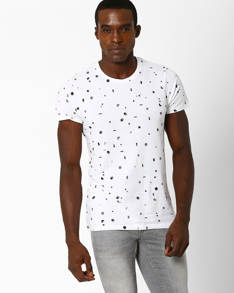 Nelson Geometric Print Slim Fit T-shirt By SON OF A NOBLE ( White )