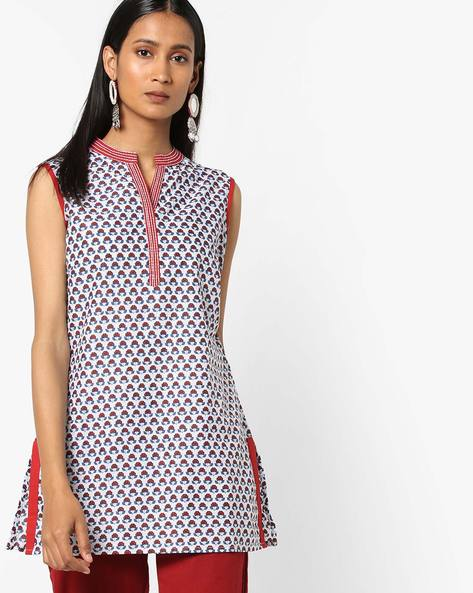 Floral Print Kurti With Notched Mandarin Collar By AJIO ( White )
