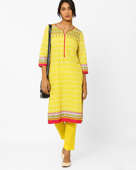 Chevron Print Straight Kurta By Rangriti ( Yellow )