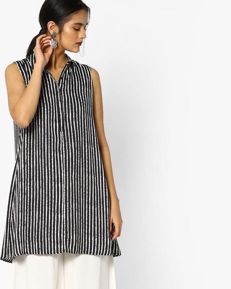 Sleeveless Striped Tunic By Project Eve WW Casual ( Black )