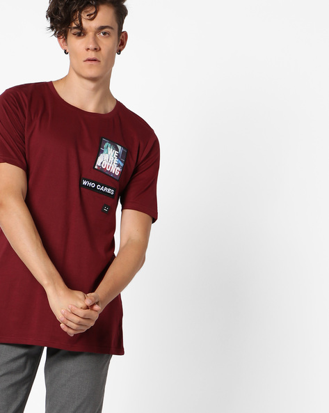 Crew-Neck T-shirt With Appliques By ADAMO LONDON ( Maroon )