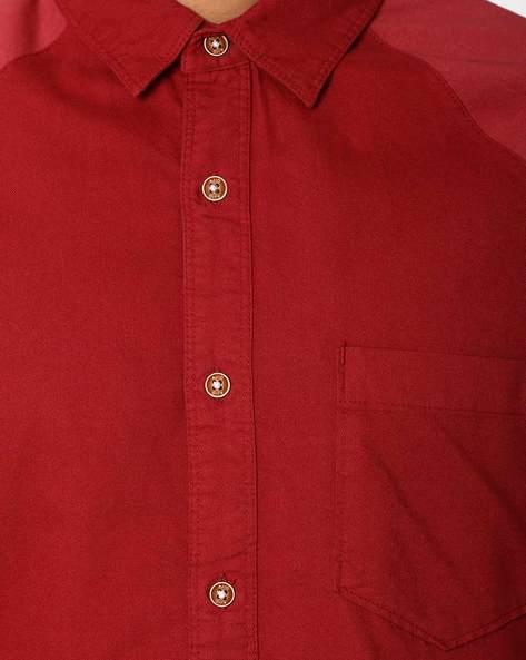 Slim Fit Shirt With Raglan Sleeves By AJIO ( Maroon )