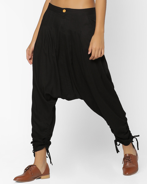 Drop Crotch Pants With Scoop Pockets By Desi Weaves ( Black )