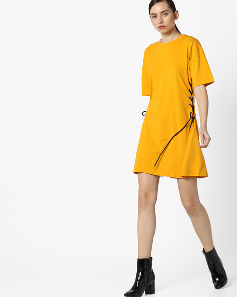 Shift Dress With Side Tie-Ups By AJIO ( Yellow )