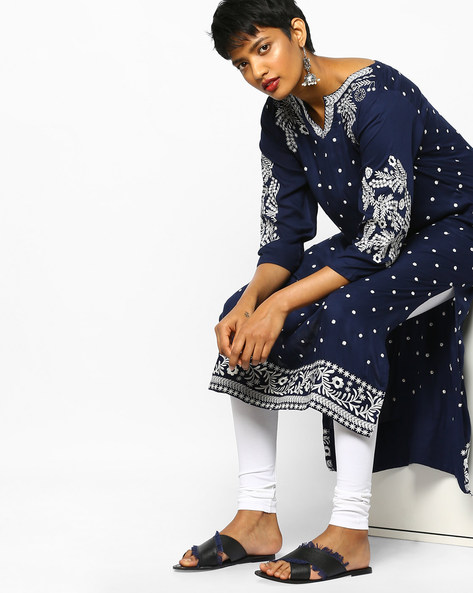 Embroidered Straight Kurta By PE IW Evening ( Blue )