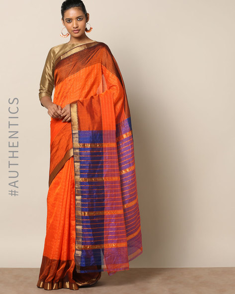 Handloom Mangalagiri Checked Cotton Silk Saree By Indie Picks ( Rust )
