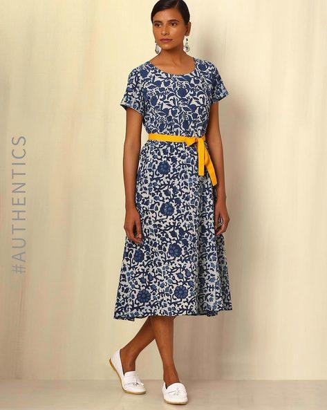Indigo Handblock Print Cotton Wrap Dress By Ek Taara ( Blue ) - 460051836003