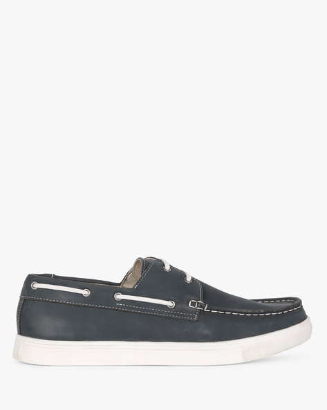 Leather Boat Shoes By UNITED COLORS OF BENETTON ( Navyblue )