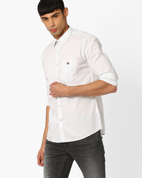 Printed Slim Fit Shirt By CRIMSOUNE CLUB ( White ) - 440747253005