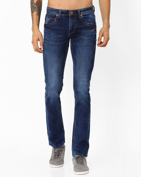 Lightly Washed Slim Fit Jeans By Killer ( Blue )