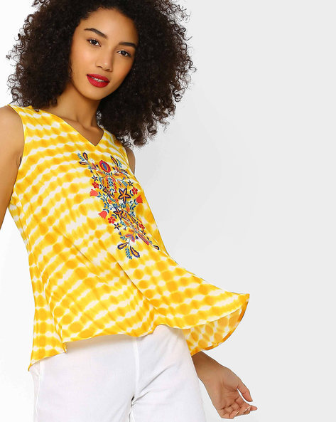 Embroidered V-neck Top By FUSION BEATS ( Yellow )