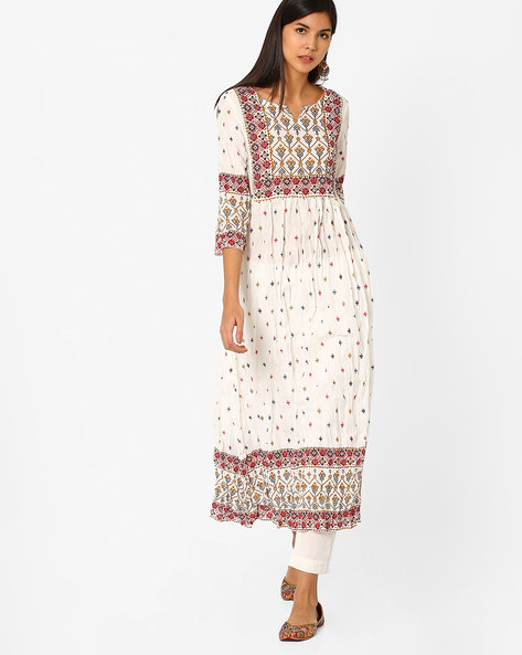 Printed Crushed Kurta By Melange By Lifestyle ( Offwhite )