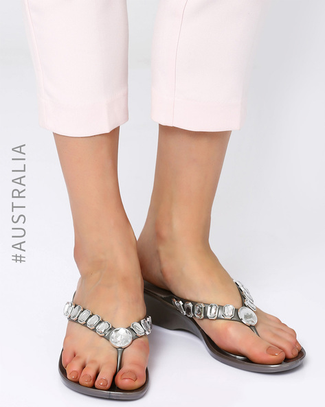 Embellished Jelly Admire Wedge Heel Sandals By Holster ( Pewter )