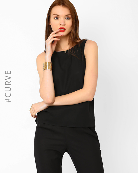 Top With High-Low Hem By AJIO ( Black )
