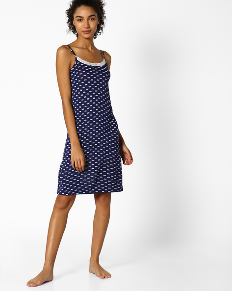 Printed Strappy Lounge Dress By Strings ( Navy )