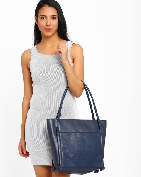 Faux-Leather Tote Bag By AJIO ( Navy )