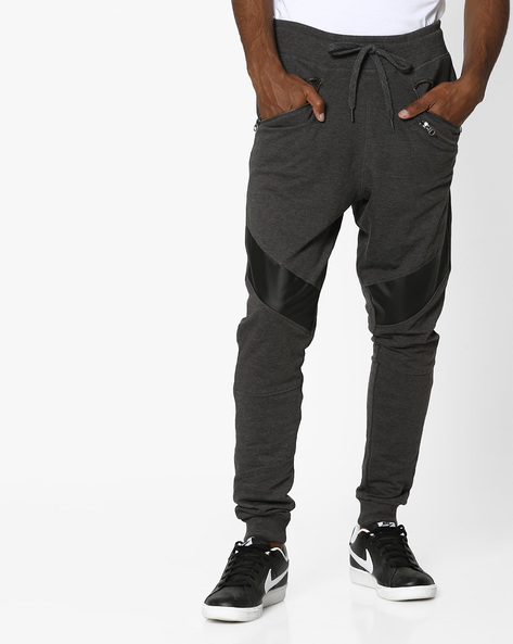 Terry Knit Joggers With PU Panels By Garcon ( Darkgrey )