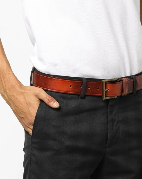 Burnished Leather Belt With Buckle Closure By AJIO ( Tan )
