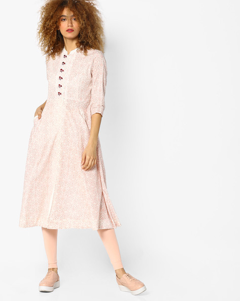 Printed Fit & Flare Dress By AJIO ( Pink )
