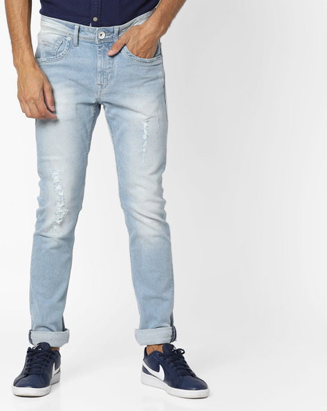 Stone-Washed Skinny Fit Distressed Jackson Jeans By FLYING MACHINE ( Blue )