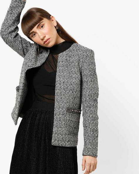 Front-Open Blazer With Beads By Vero Moda ( Greycharcoal )