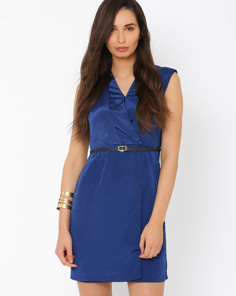 Wrap Dress With Belt By Annabelle By Pantaloons ( Navyblue )