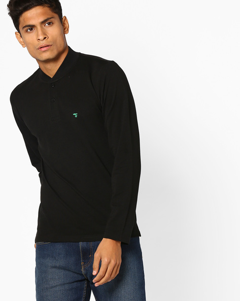 Cotton T-shirt With Ribbed Collar By The Indian Garage Co ( Black )