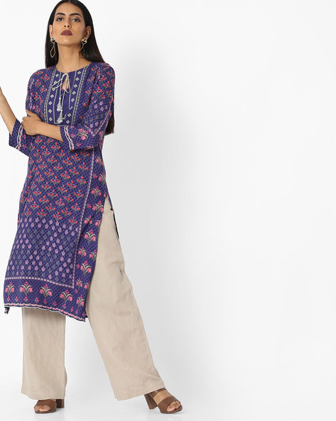 Printed Straight Kurta With Tassel Tie-Up By Arah ( Navyblue )