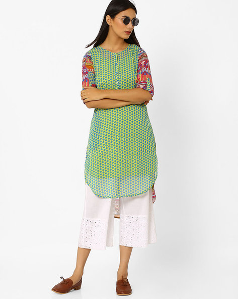 Printed High-Low Tunic By FUSION ( Ltgreen )