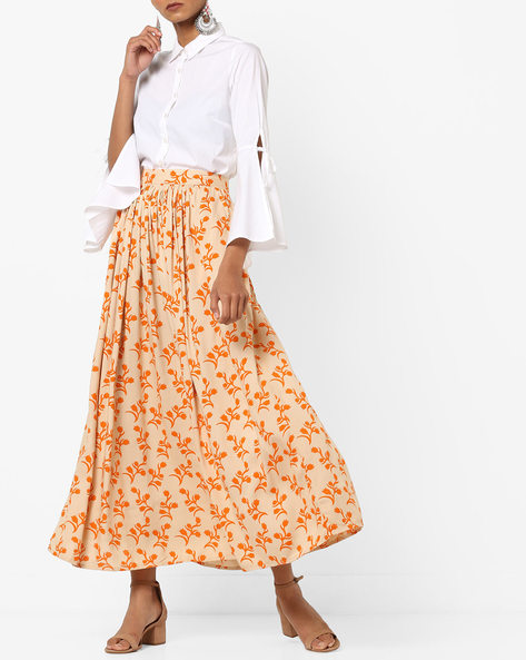 Floral Print Skirt With Insert Pockets By AJIO ( Beige )