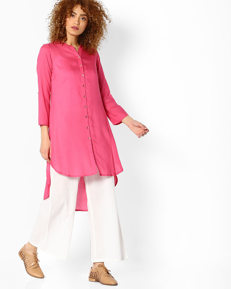 High-Low Kurta With Mandarin Collar By Melange By Lifestyle ( Pink )