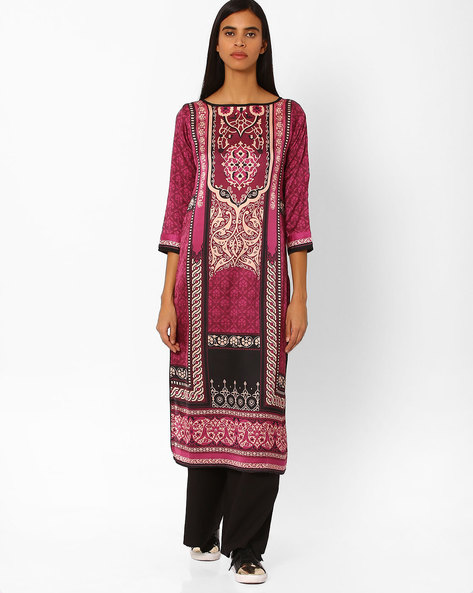 Printed Straight Kurta By Indian Ink ( Wine )