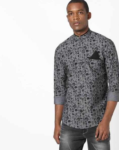 Floral Print Shirt With Band Collar By Killer ( Black )
