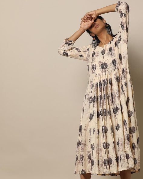Printed Cotton Gathered Midi Dress By Seasons ( Beige )