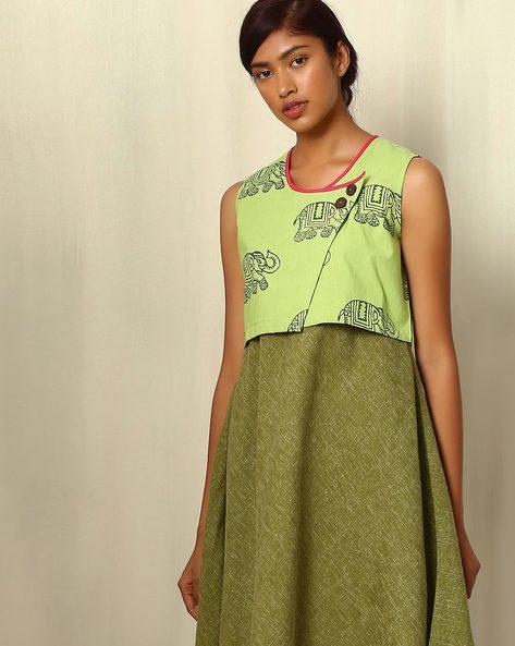 Block Print Cotton Satin Shrug By Ek Taara ( Limegreen )
