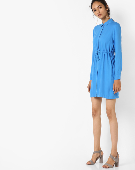 Shirt Dress With Tie-Up By UNITED COLORS OF BENETTON ( Blue )