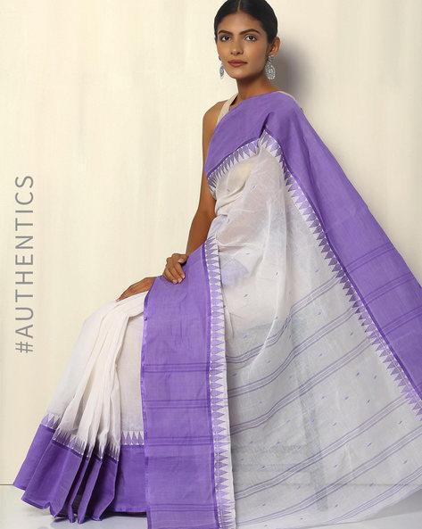 Bengal Handloom Tant Tangail Buti Cotton Saree By Indie Picks ( Blue )