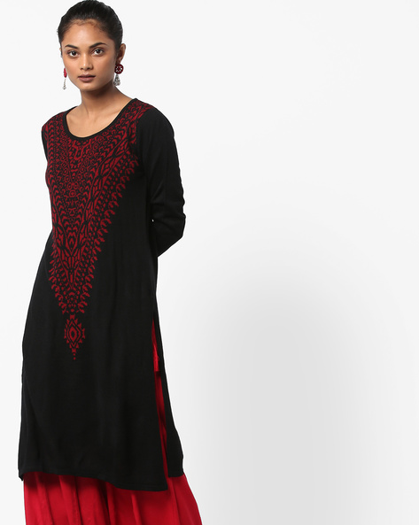 Knitted Kurta With Contrast Yoke By Melange By Lifestyle ( Black )