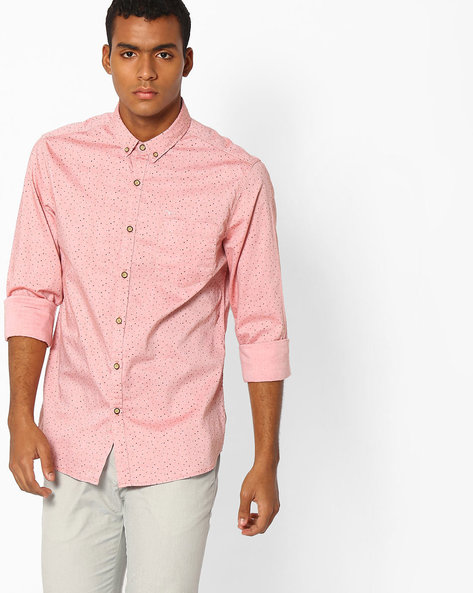 Printed Shirt With Button-Down Collar By FLYING MACHINE ( Orange )
