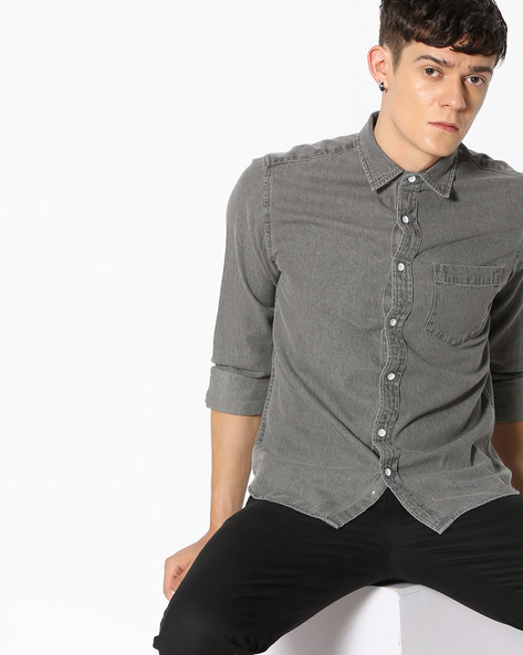 Slim Fit Denim Shirt By Blue Saint ( Lightgrey )