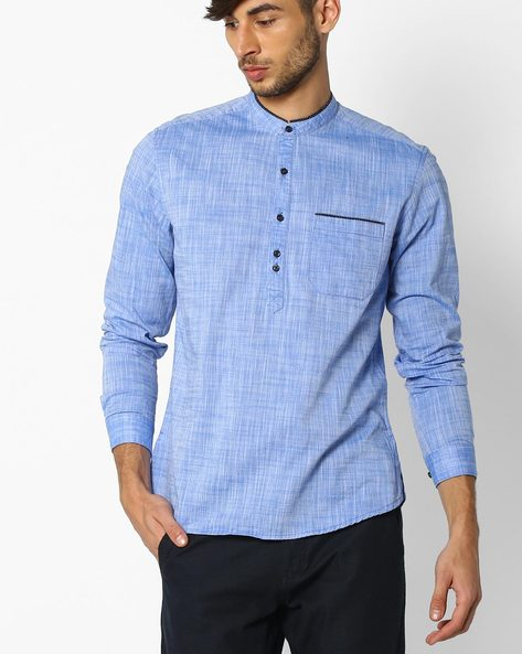 Regular Fit Popover Shirt With Patch Pocket By NETPLAY ( Blue )
