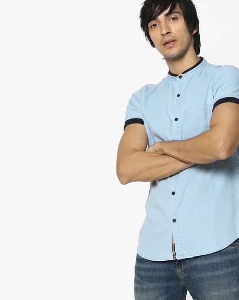 Slim Fit Denim Shirt By Locomotive ( Lightblue )