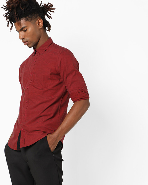 Cotton Shirt With Spread Collar By Black Coffee ( Red )