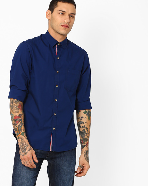 Casual Shirt With Patch Pocket By JOHN PLAYERS ( Blue )