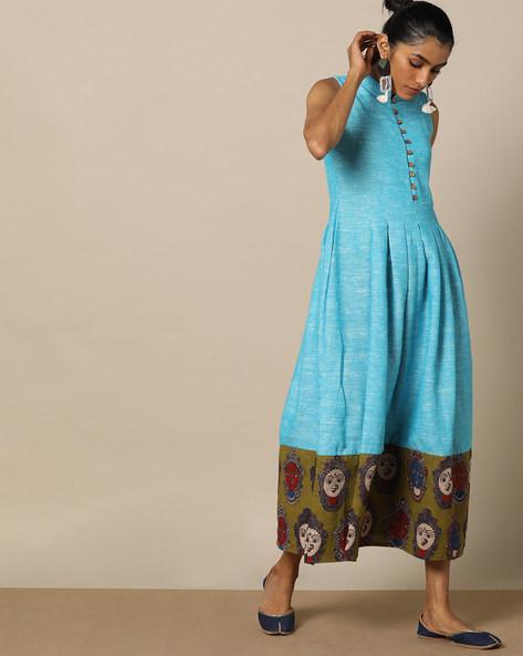 Handloom Cotton Kalamkari Print Sleeveless Dress By Indie Picks ( Blue )