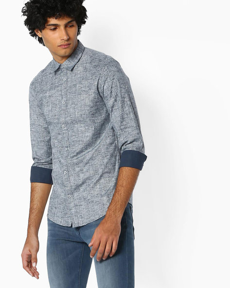Cotton Shirt With Spread Collar By SELECTED ( Navy ) - 460067011004