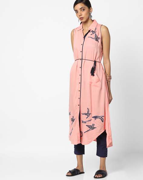 Embroidered Straight Kurta With Waist Tie-Up By Bitterlime ( Pink )