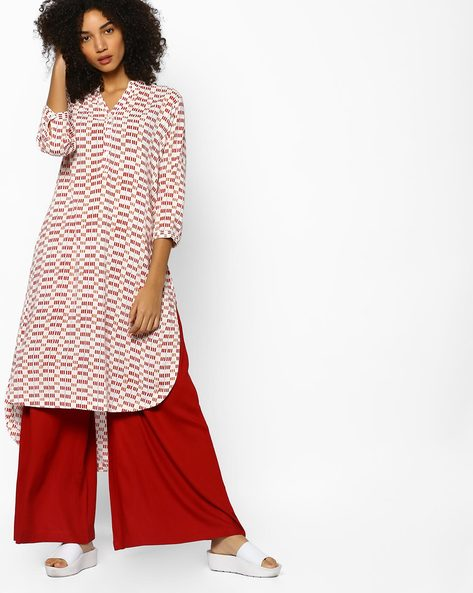 Printed High-Low Straight Kurta By PE IW Casual ( Coral )
