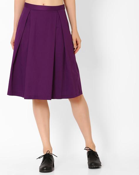 Woven Box Pleat Skirt By AJIO ( Purple )