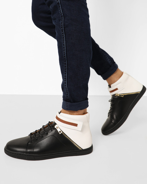 Panelled High-Top Lace-Up Sneakers By AJIO ( Black )